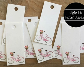 Paper Tag, Pink Bicycle, Flower Basket, Paper Gift Tag, Custom Tag, Thank You, Get well Soon, Favor Tag, Thank You Tag, Friends Gift, Set 10
