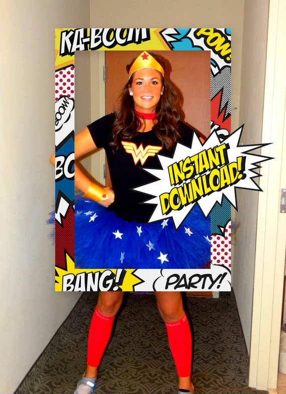 Superhero Theme Photo Booth / INSTANT DOWNLOAD / Prop Frame / Super ...