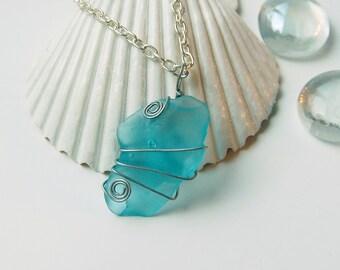 Blue Sea Glass Necklace Ocean Jewelry Beach Necklace Beach Jewelry Beach Glass Jewelry Beach Glass Necklace Sea Glass Jewelry Recycled Glass