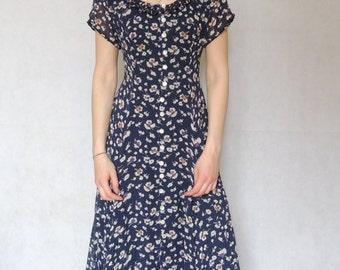 Vintage 90s Floral Print  Maxi Dress