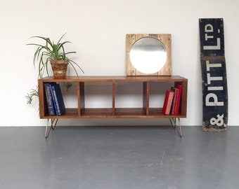 Sonor Record Player/ LP/ Vinyl Storage Cabinet / Console Table on Mid Century Hairpin Legs