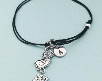 New Jersey cord bracelet, New Jersey charm bracelet, adjustable bracelet, charm bracelet, personalized bracelet, initial bracelet, monogram