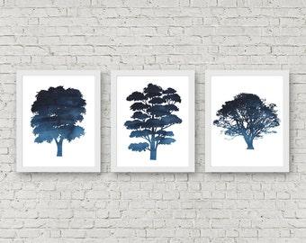 Set Of 3 Art Prints - Tree Silhouette Printable Wall Art - Blue Watercolor Tree Art Poster - Office Wall Art - Nature Art Print