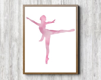 Watercolor Ballerina Wall Art - Ballet Nursery /Girls Room Decor Poster - Ballet Gift - Dance Art Print - Ballet Studio Art - Pink Art