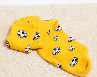 SALE! 80s Gold Yellow Soccer Ball Print Knee Socks • 7-11 womens