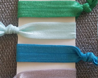 Blue green and silver elastic ponytail holders, blue green and silver elastic bracelets, elastic ponytail holders/elastic bracelets