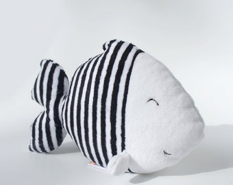 Fish stuffed animal - cute stuffed animals for babies - Plush fish with black and white stripes - baby comforter - customed fish toy