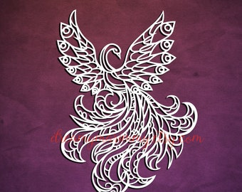 Bird Paper cutting template, DIY card, Fire Bird papercut, Personal and Commercial  Use, PT-063