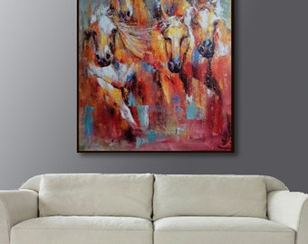 Horses painting, oil painting of horses ,Horses painting by Kampon
