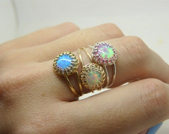 Gold Filled opal ring, Dainty ring, Opal ring, White opal ring, Opal jewellery, October birthstone ring
