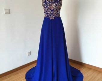 Long Prom Dress, Prom Dress 2016, Spaghetti Straps Prom Dress, Royal Blue Prom Dress, Chiffon Prom Dress, Backless Prom Dress