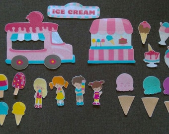 Ice Cream Truck and Shop Felt Set // Flannel Boards// Ice Cream // Vacation // Preschool // Creative Play // Summer Fun