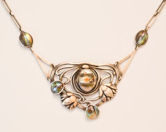 Arts and Crafts Art Nouveau Jugendstil Floral And Shell Necklace Kalo Shop Attrib