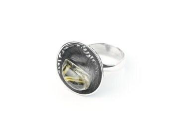 Ring, sterling Silver, handmade from Lithuania, art jewelery, natural, gemastone rutile quartz