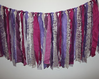 Purple and White Fabric Banner // Party Decor // Photo Backdrop