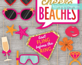 Aloha Beaches - PhotoBooth Props - Bachelorette Party - Bridal Shower - Birthday Party - Digital File - Instant Download -