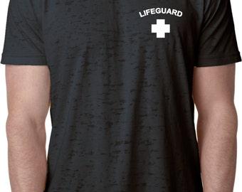 Lifeguard Pocket Print Mens Burnout Tee T-Shirt PLIFEGUARD-NL6110