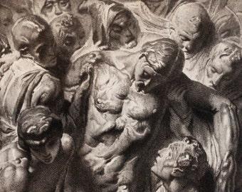 1884 original print - Déposition de croix - Descent from the Cross - gravure engraving - Louvre - bas-relief attributed to michelangelo