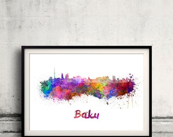Baku skyline in watercolor over white background with name of city - Poster Wall art Illustration Print - SKU 1603
