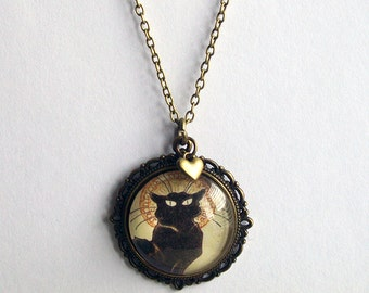 Le Chat Noir Necklace ~  Black Cat Necklace ~ Art Nouveau Jewelry ~ Cat Lover Gift ~ Cat Jewelry ~ Cat Necklace
