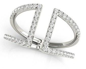 14K White Gold Statement Double Bar Cz Fashion Ring