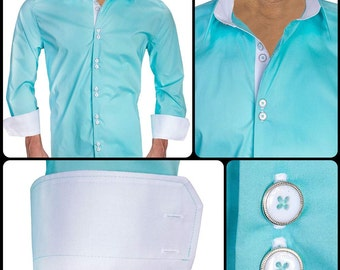 Teal with White Men's Designer Dress Shirt - Made To Order in USA
