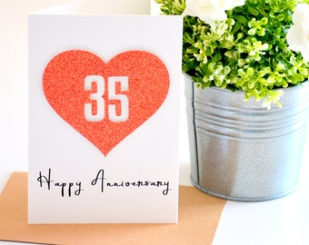 Coral Anniversary Gift, 35th Wedding Anniversary Card, Happy Anniversary Card, 35 Year Anniversary, Couple Gift, Wife Gift, Gift for Husband