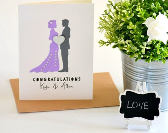 Wedding Congratulations Card, Custom Wedding Card, Personalized Wedding Gift for Couple, Bride and Groom, Lavender Purple, Grey, Handmade