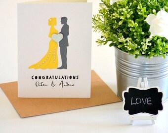 Wedding Congratulations Card, Bride and Groom Card, Wedding Gift, Personalized Gift, Newlyweds Gift, Handmade Wedding Card, Yellow, Grey