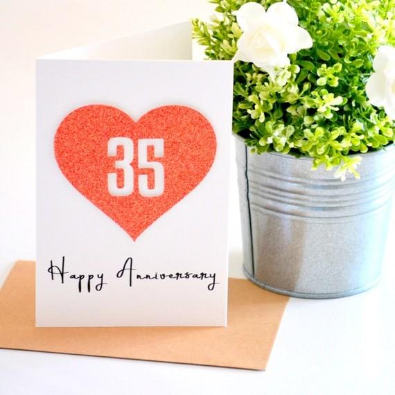 35 Wedding Anniversary Gift Ideas: Coral Anniversary Gift 35th Wedding Anniversary Card Happy