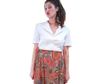 Free Shipping! Mix Color Abstract Print Vintage Skirt For Women 1970s