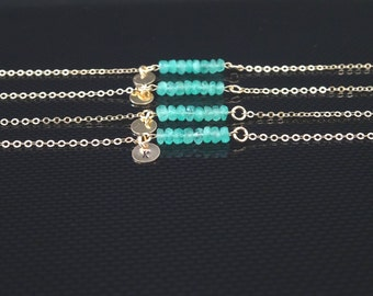 Genuine Emerald Bracelet, May birthstone, Personalized gemstone Bracelet, Bridesmaid gifts, Gift for her, Tiny disc initial bracelet
