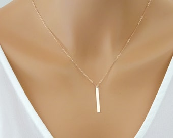 Dainty Rose Gold Fill bar Necklace, Vertical skinny bar pendant , Layering Necklace, Rose Gold fill Jewelry