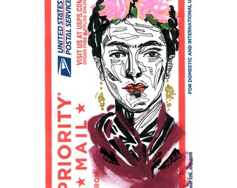 Frida Kahlo Portrait - Painter Artist - Street Art Sticker - Hand Drawn Illustration