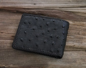 Genuine Ostrich Wallet Hand Stitched Leather Wallet Bifold Black wallet