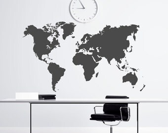 World Map Vinyl Wall Decal- National Geographic Map Of The World- Large World Map Wall Decal Vinyl Sticker Office Home Decor Wall Art C029
