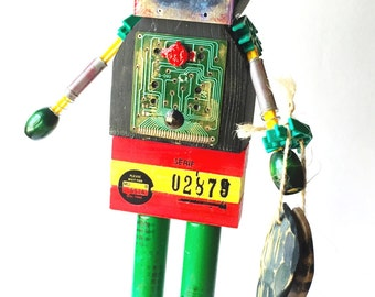 Found Object Robot Assemblage - Assemblage - Mixed Media Assemblage - Fishing Robot - Fishing Art - Fishing Mixed Media - Fisherman Gift