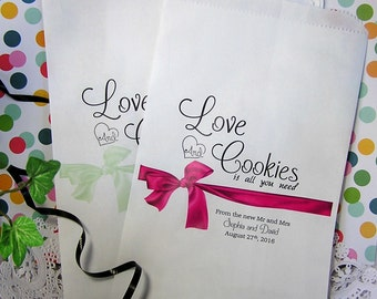 Personalized Paper Cookie Bags - Cookie Bar Bags - Love and Cookies - Wedding Reception - 24 BAGS -  CB02za