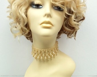 Blonde & Copper Short Curly Side Part Wig. Lace Front Heat Resistant Wig. Madonna Style Wig. [62-323-Mary-613/24-12C]
