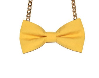 Yellow Bow Tie Necklace - Bow Jewelry, Accessories, Statement Necklace - Easy No Tie Bow Tie - Great for Office, Wedding - Mango