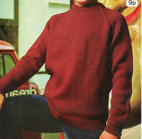 children 39 s sweater knitting pattern raglan sleeve dk or 4 ply 24 to 30 inches from. Black Bedroom Furniture Sets. Home Design Ideas