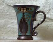 Coffee mug, Handmade Cat Mug, Ceramic Mug, Clay Mug, Pottery Mug, Hand Thrown Mug, Unique Mug, Handcrafted Mug, Hand Painted Mug