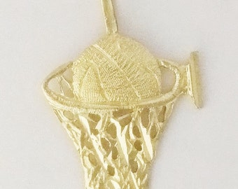 14k Yellow Gold Basketball and Hoop Charm / Pendant