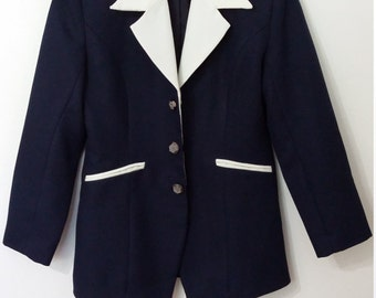 Formal blazer, M, nautical blazer, navy blue blazer, pin up jacket, pin up blazer, nautical jacket, classic jacket, classic blazer