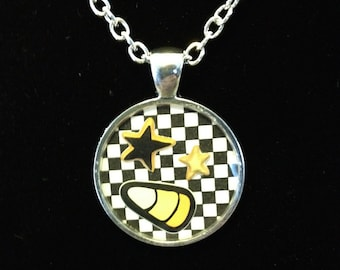 Black and White Check Candy Corn & Stars Halloween Resin Pendant, Silver Color.