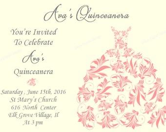 Quinceanera Invitation - sweet sixteen invitation - quinceanera dress- quince invitation - sweet 16 - mis quince invitation - coral invite
