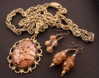 WHITING & DAVIS Topaz Art Glass Medallion + 2 Matching Blown Glass Earrings Jewelry Set