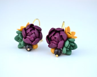 Succulent earrings jewelry. Plum peonies earrings. Polymer clay flower earrings jewelry. Wedding succulent earrings