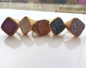 Square Drusy Ring