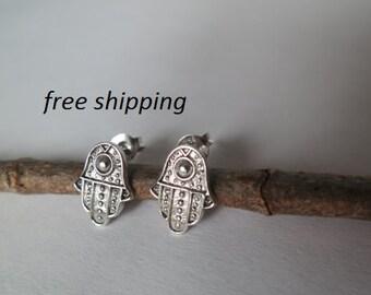 Hand of Fatima, Hamsa stud earrings in 92.5 sterling silver